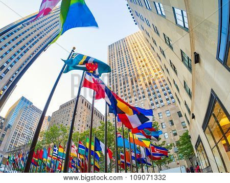 NEW YORK,USA - AUGUST 14,2015 : Flags at the Rockefeller Center in midtown Manhattan