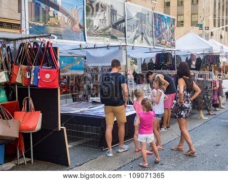 NEW YORK,USA - AUGUST 15,2015 : Street fair at 6th Avenue in midtown New York City
