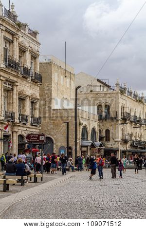 People walk in Old Jerusalem