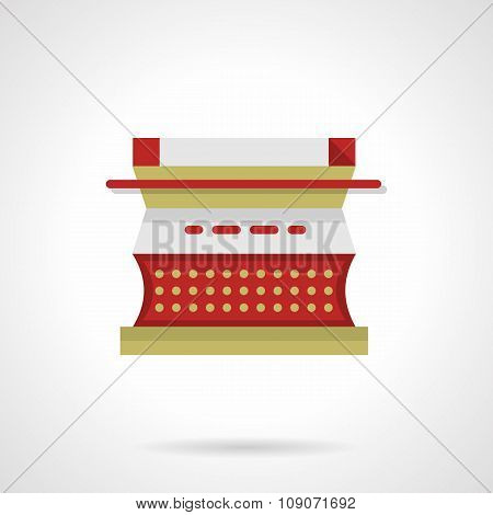 Red type writer flat color vector icon