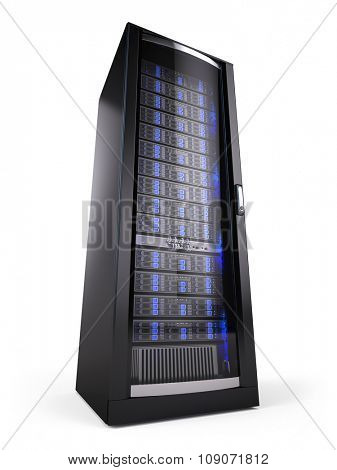 network server rack isolated on white