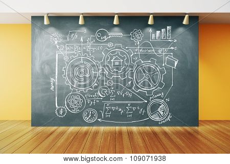 Creative Scheme On Blackboard In Empty Room With Wooden Floor