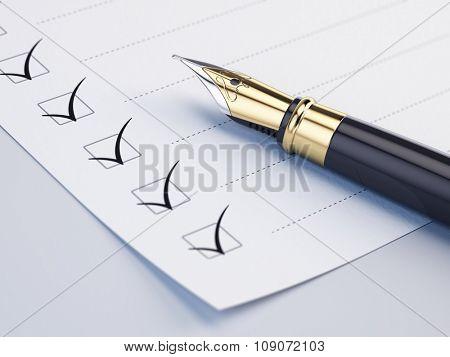 Checklist concept - checklist, paper and fountain pen