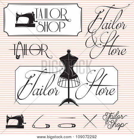 Set Of Templates For Promotional Signage For Tailor Shop