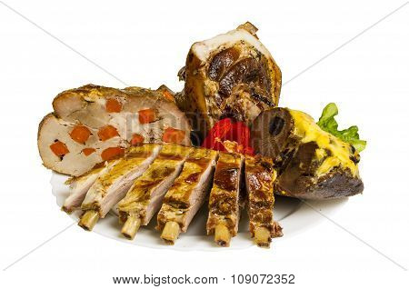 Pork And Ribs Of Wild Boar Grill On The Plate, Isolated