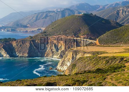 Bixby Creek Bridge Seen Along Highway One In Big Sur, California