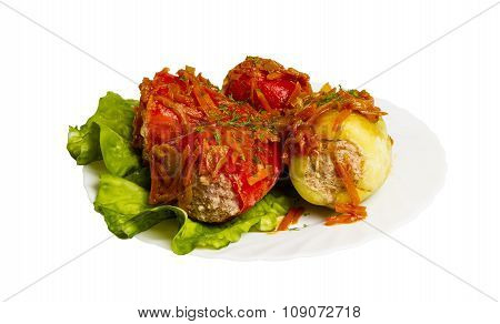 Braised Cabbage Rolls Isolated