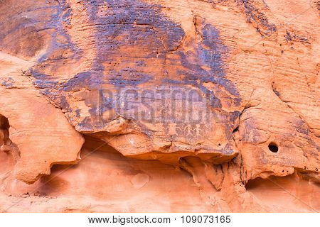 Ancient Rock Carvings In Valley Of Fire State Park, Nevada
