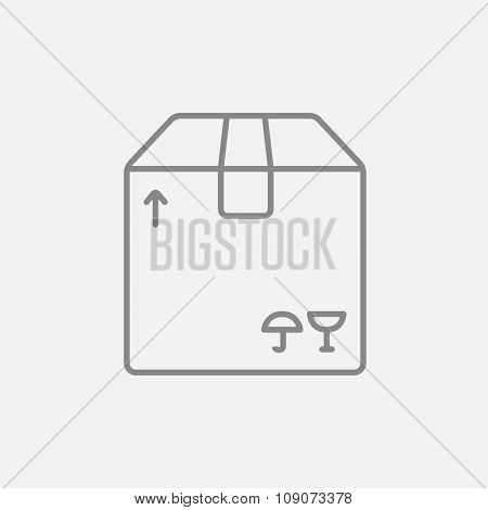 Carton package box line icon for web, mobile and infographics. Vector dark grey icon isolated on light grey background.