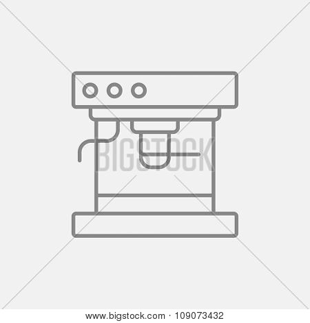 Coffee maker line icon for web, mobile and infographics. Vector dark grey icon isolated on light grey background.