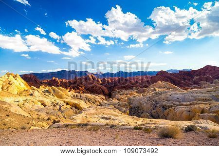 Red Rocks Amid Blue Sky In Valley Of Fire State Park
