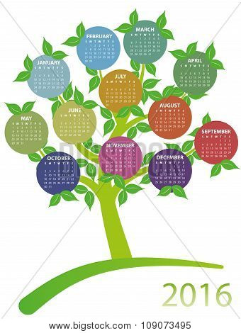2016 Calendar Tree