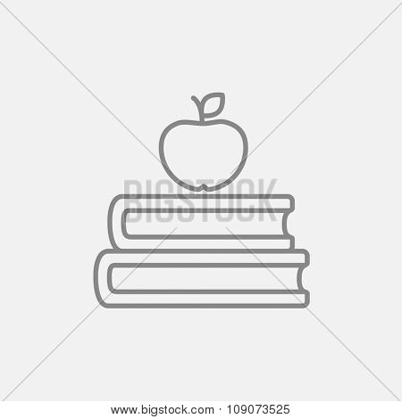 Books with apple on the top line icon for web, mobile and infographics. Vector dark grey icon isolated on light grey background.