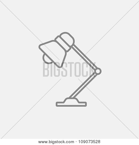 Table lamp line icon for web, mobile and infographics. Vector dark grey icon isolated on light grey background.