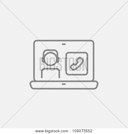 Laptop with a man in headphones on a screen for web, mobile and infographics. Vector dark grey icon isolated on light grey background.
