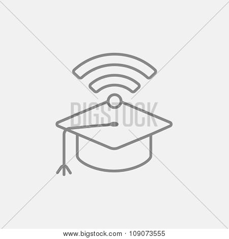 Graduation cap with wi-fi sign line icon for web, mobile and infographics. Vector dark grey icon isolated on light grey background.