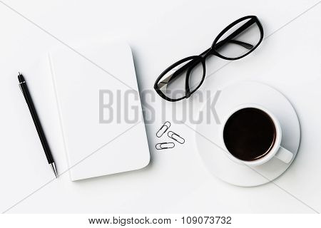 White Blank Diary Cover, Cup Of Coffee And Glasses On White Table, Mock Up