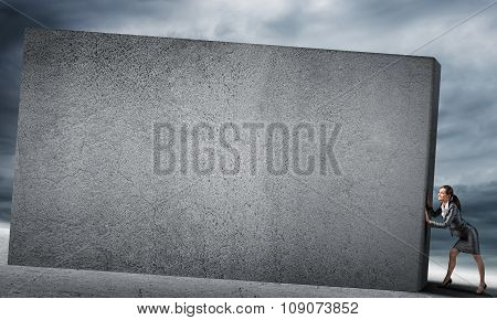 Blank concrete banner