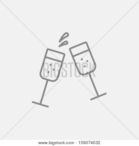 Two glasses of champaign line icon for web, mobile and infographics. Vector dark grey icon isolated on light grey background.