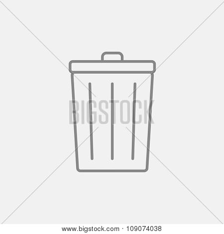 Trash can line icon for web, mobile and infographics. Vector dark grey icon isolated on light grey background.