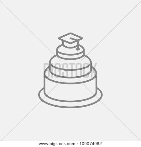 Graduation cap on the top of a cake line icon for web, mobile and infographics. Vector dark grey icon isolated on light grey background.