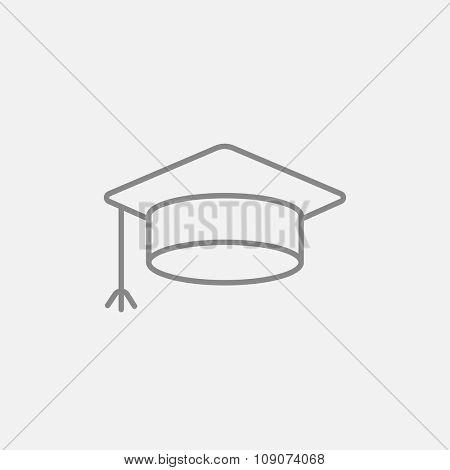 Graduation cap line icon for web, mobile and infographics. Vector dark grey icon isolated on light grey background.