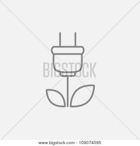 Eco green energy line icon for web, mobile and infographics. Vector dark grey icon isolated on light grey background.