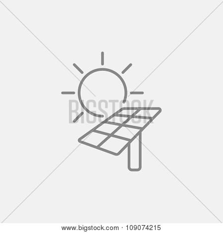 Sun with solar panel line icon for web, mobile and infographics. Vector dark grey icon isolated on light grey background.