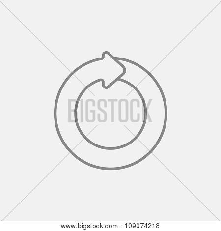 Circular arrow line icon for web, mobile and infographics. Vector dark grey icon isolated on light grey background.