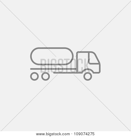 Fuel truck line icon for web, mobile and infographics. Vector dark grey icon isolated on light grey background.