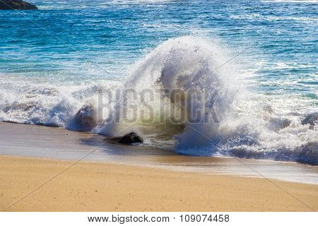 Curling Wave On The Beach Of Garrapata State Park, Big Sur, California