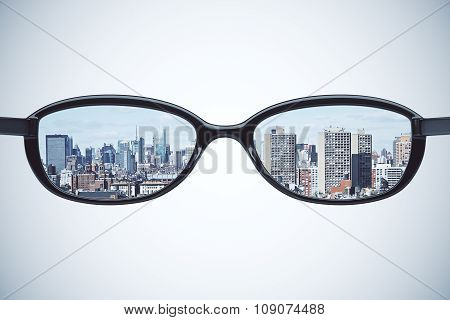 Clear Vision Concept With Eyeglasses With Megapolis City At White Background