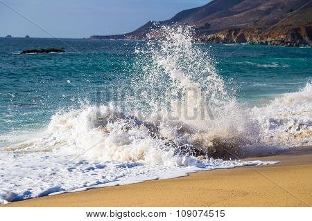 Crushing Wave On Beach At Garrapata State Beach In Big Sur, California