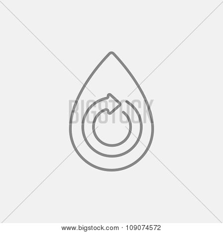 Water drop with circular arrow line icon for web, mobile and infographics. Vector dark grey icon isolated on light grey background.
