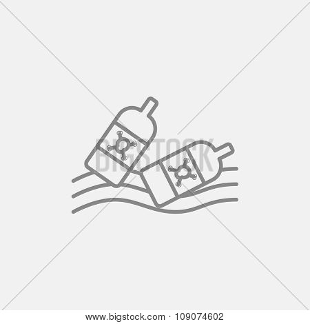 Bottles floating in the water line icon for web, mobile and infographics. Vector dark grey icon isolated on light grey background.
