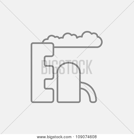 Refinery plant line icon for web, mobile and infographics. Vector dark grey icon isolated on light grey background.