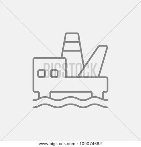 Offshore oil platform line icon for web, mobile and infographics. Vector dark grey icon isolated on light grey background.
