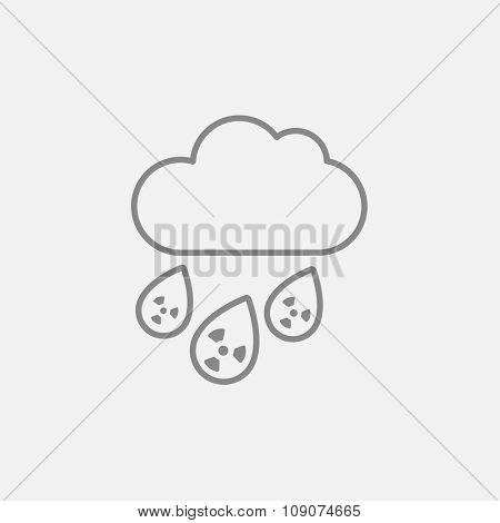 Radioactive cloud and rain line icon for web, mobile and infographics. Vector dark grey icon isolated on light grey background.