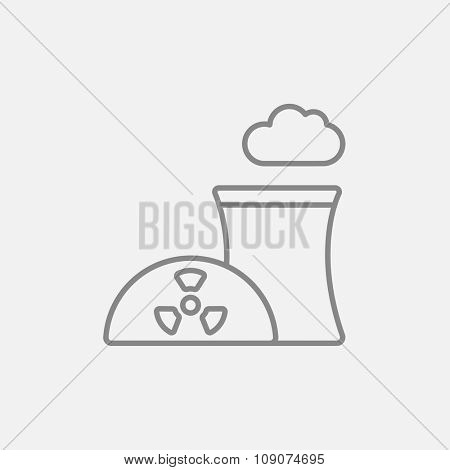 Nuclear power plant line icon for web, mobile and infographics. Vector dark grey icon isolated on light grey background.