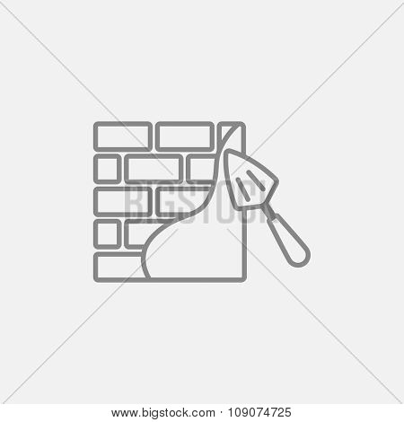 Spatula with brickwall line icon for web, mobile and infographics. Vector dark grey icon isolated on light grey background.