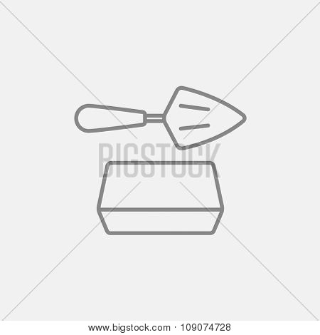 Spatula with brick line icon for web, mobile and infographics. Vector dark grey icon isolated on light grey background.