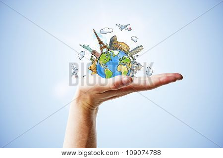 Travel Concept With Hand And Drawn Earth Planet With Landmarks
