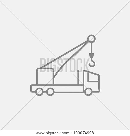 Mobile crane line icon for web, mobile and infographics. Vector dark grey icon isolated on light grey background.