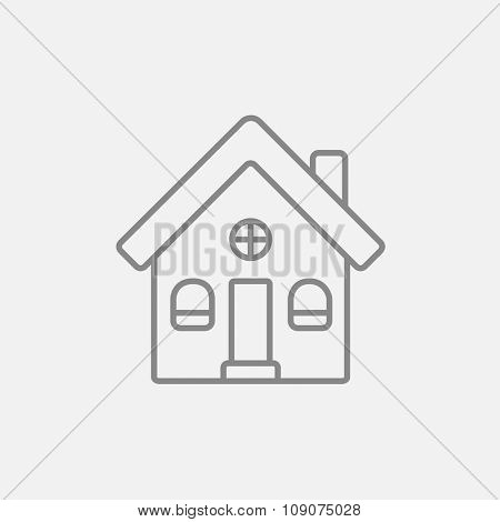 Detached house line icon for web, mobile and infographics. Vector dark grey icon isolated on light grey background.