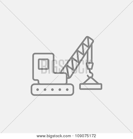 Lifting crane line icon for web, mobile and infographics. Vector dark grey icon isolated on light grey background.