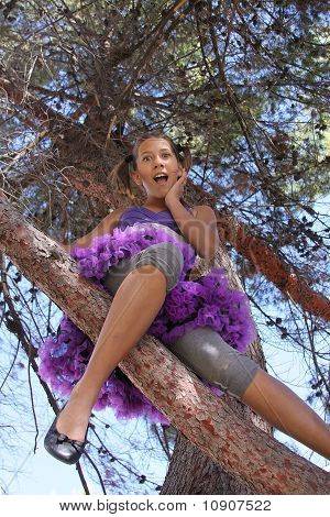 Girl up a tree