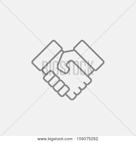 Handshake line icon for web, mobile and infographics. Vector dark grey icon isolated on light grey background.