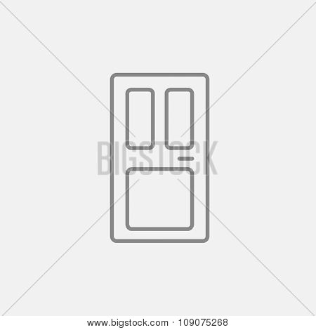Front door line icon for web, mobile and infographics. Vector dark grey icon isolated on light grey background.
