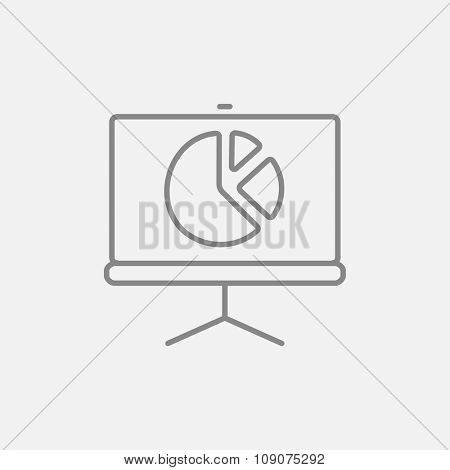 Roller screen with the pie chart line icon for web, mobile and infographics. Vector dark grey icon isolated on light grey background.