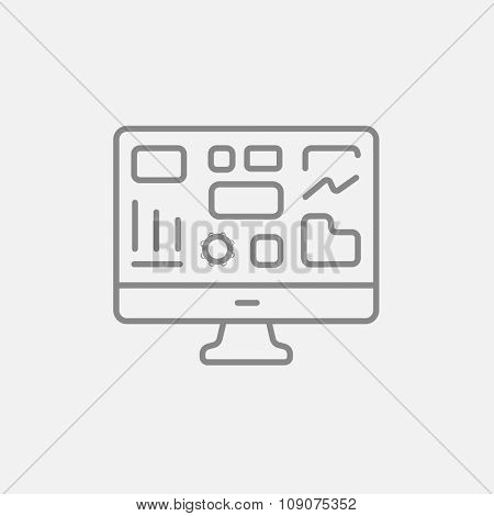 Monitor with business graphs line icon for web, mobile and infographics. Vector dark grey icon isolated on light grey background.